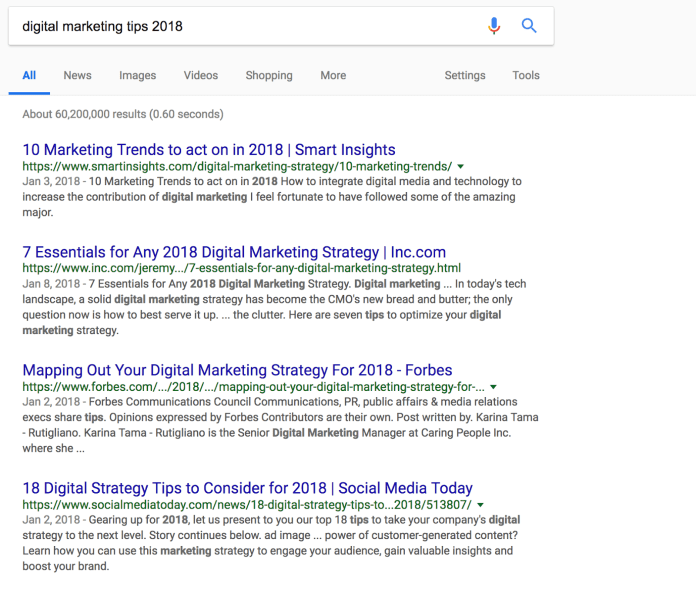 digital marketing tips 2018 Google Search