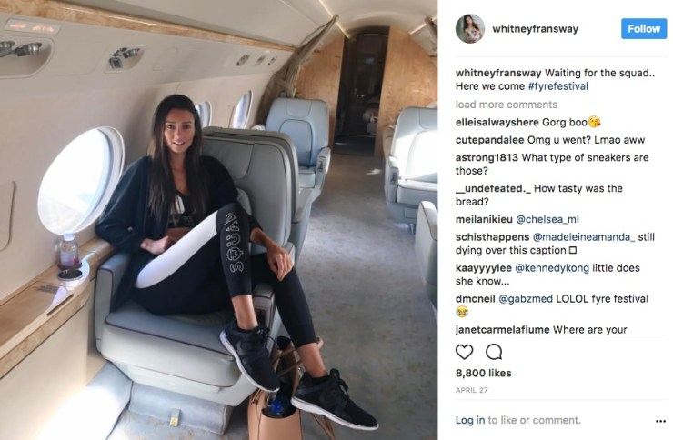 girl sitting in private jet sharing on instagram