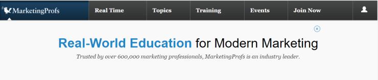 marketingprofs homepage in 2018