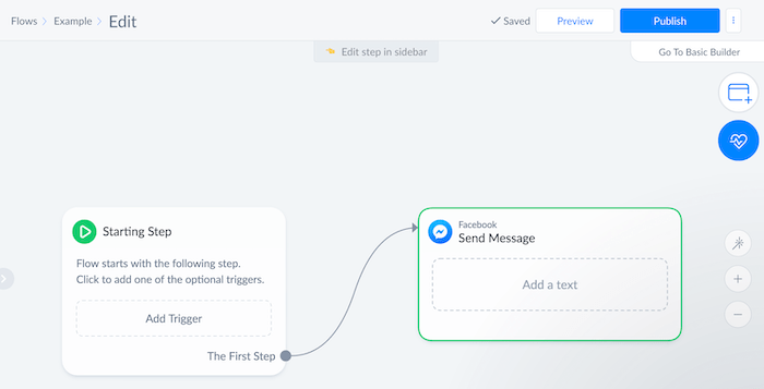 e-commerce chatbot flow example