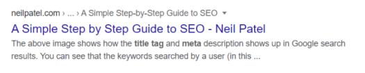 SERP keywords example