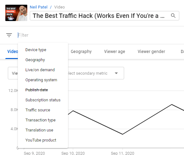 filters for youtube analytics