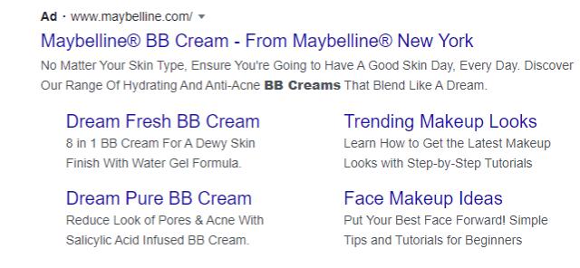 Screenshot of Maybelline PPC ad copy writing skills