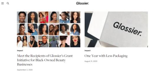 Skincare marketing Glossier blog screenshot