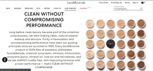 Skincare marketing bareMinerals home page