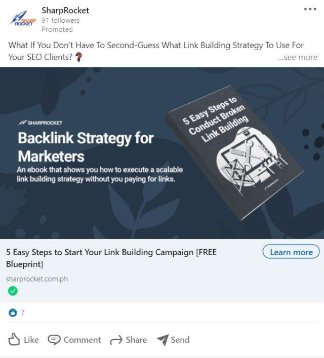 LinkedIn Advertising Ideas - Make an Offering in Your Ad, like SharpRocket