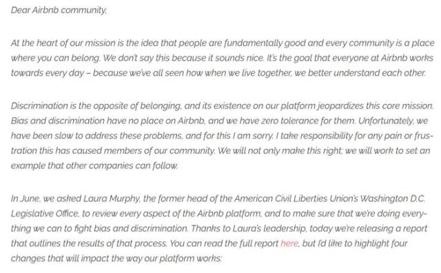 brian chesky letter apology