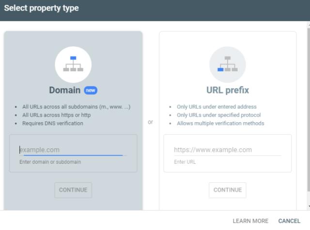 Google search console guide add property.