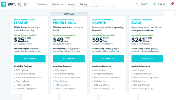 WP Engine pricing page for WP Engine Review