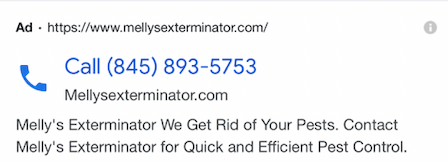 Examples of Call-only ads -  A Pest Control Company
