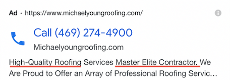 Examples of Call-only ads -  A Roofing Company