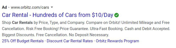 evergreen PPC ads - orbitz