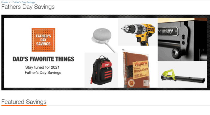 E-commerce Father's Day Sales Examples - Home Depot