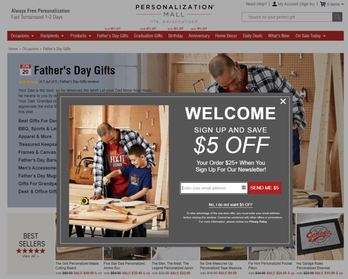 E-commerce Father's Day Sales Examples - Personalization Mall