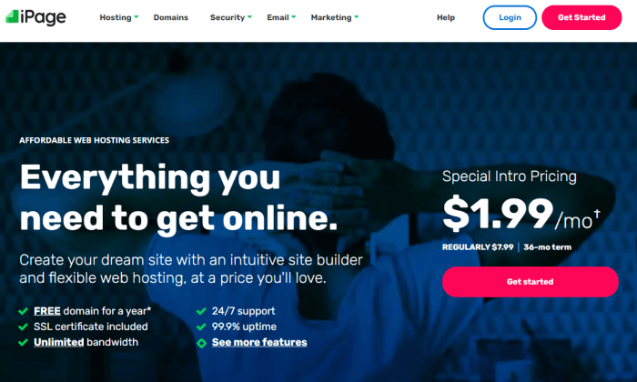 iPage homepage for Best Cheap Web Hosting