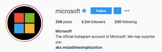 Microsoft Instagram Social Media Profile Example