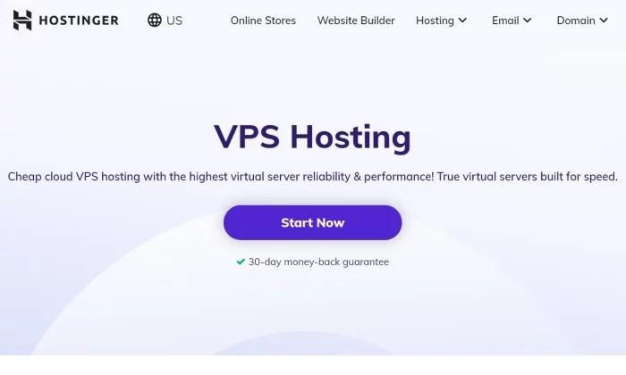 Hostinger splash page for Best VPS Hosting