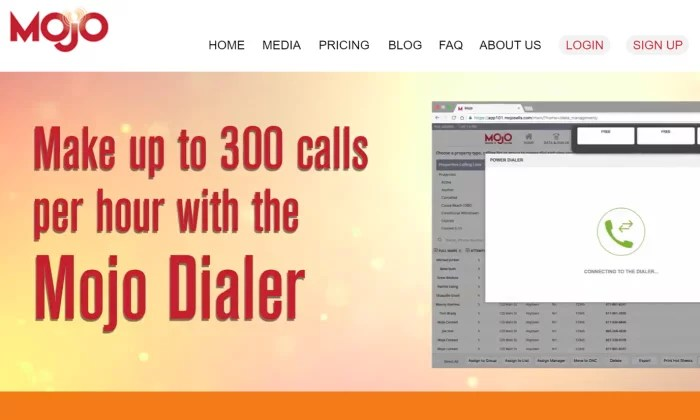 Mojo main splash page for Best Auto Dialer Software