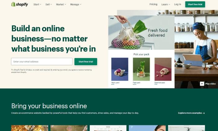 Shopify splash page for Best Ecommerce Platforms