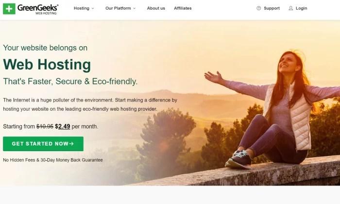 GreenGeeks splash page for Best Shared Hosting