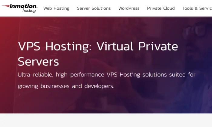 InMotion Hosting splash page for Best VPS Hosting
