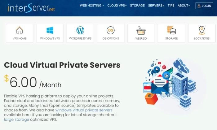 InterServer splash page for Best VPS Hosting