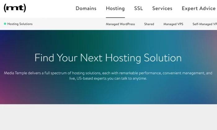 MediaTemple splash page for Best VPS Hosting