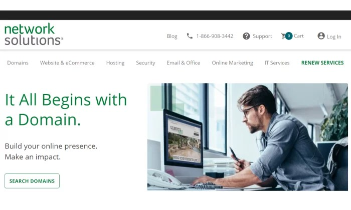 Network Solutions domain splash page for Best Domain Registrar