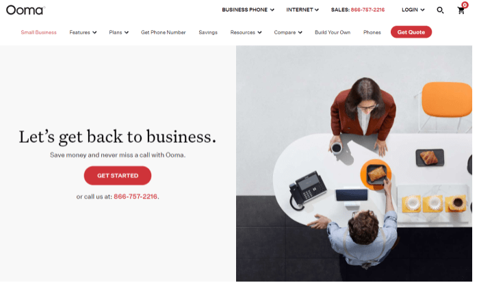 Ooma splash page for Best Business Phone Systems
