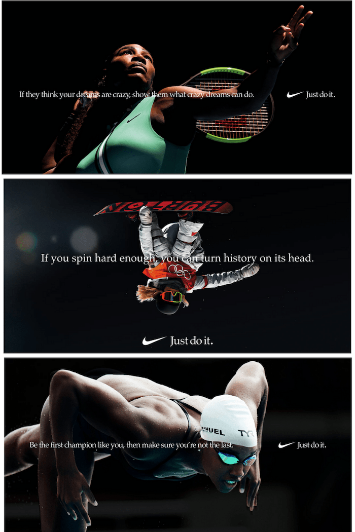 three nike ad examples featuring famous athletes and inspiring persuasive commercial