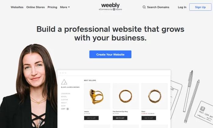 Weebly splash page for Best Website Builders