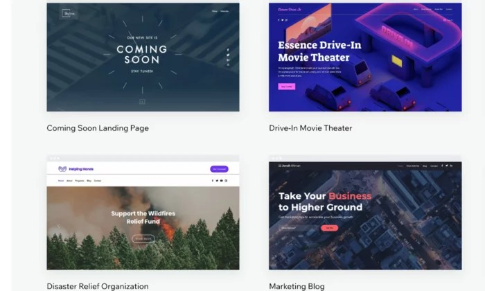 Wix templates for Best Website Builders