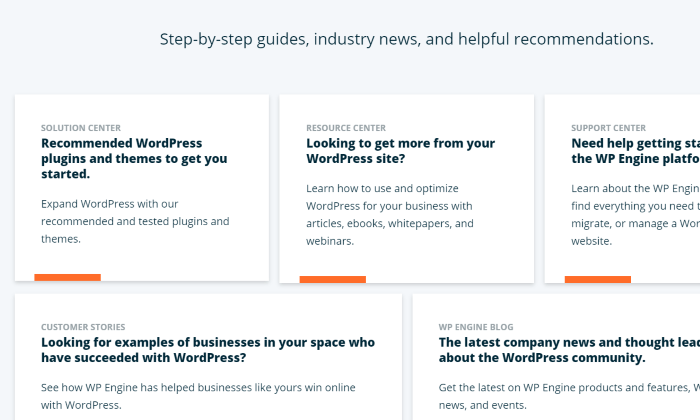 WP Engine's support guides and help center for WP Engine Review