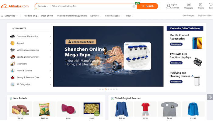 Alibaba homepage for How to Start an Online Store