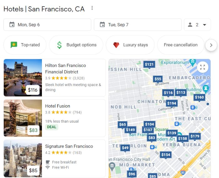 hotel listing visibility on Google for google hotel