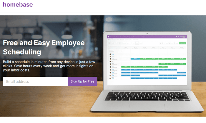 Homebase splash page for Best Employee Scheduling Software