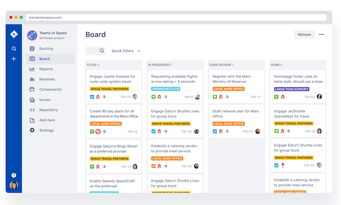 Jira interface for Best Agile Project Management Software