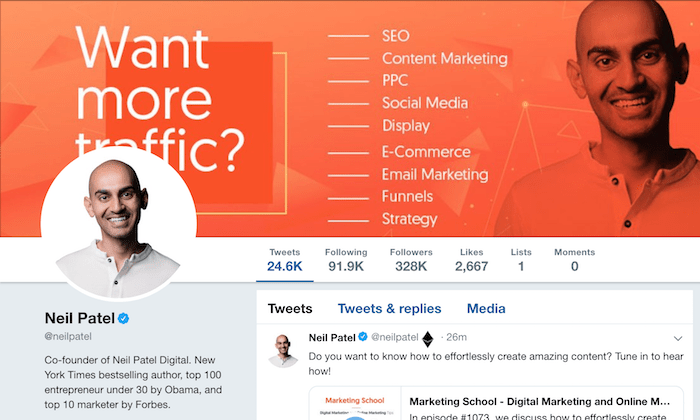 Neil Patel Twitter profile for How to Start a Business