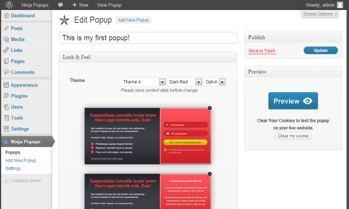 Ninja Popups WP interface for Best WordPress Popup Plugins