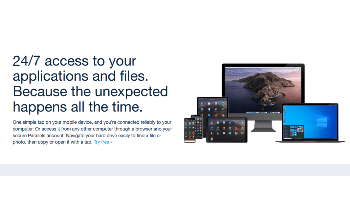 Parallels Access splash page for Best Remote Access Software