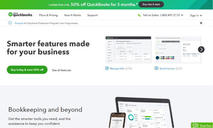 QuickBooks splash page for Best Accounting Software