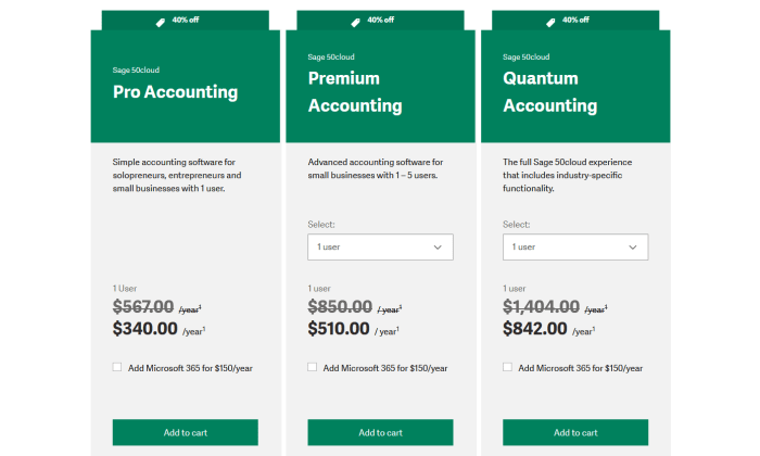 Sage 50Cloud pricing page for Best Accounting Software