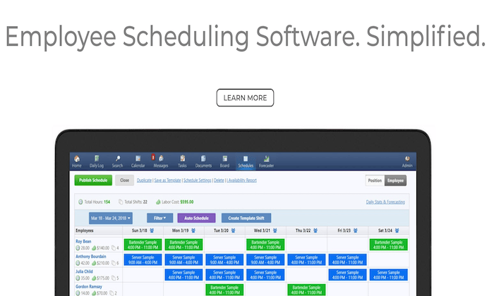 ShiftNote inteface splash page for Best Employee Scheduling Software