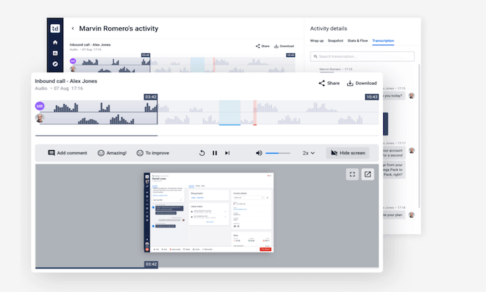 Talkdesk interface for Best Call Recording Software