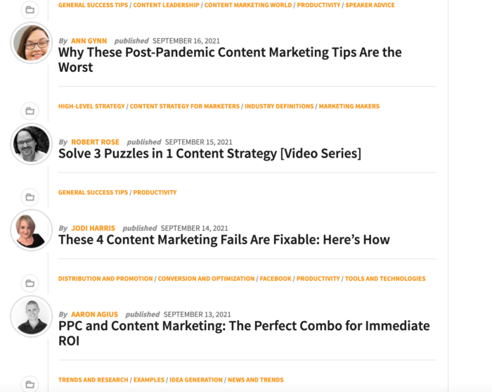 top marketing blogs - content marketing institute blog front page