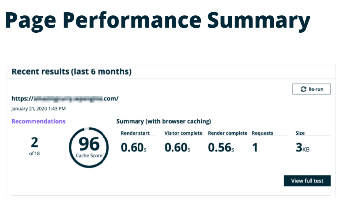 WP Engine page performance test for WP Engine Review