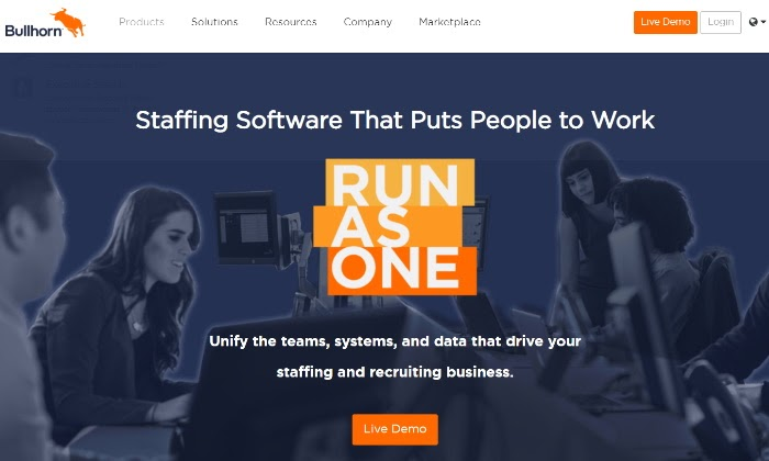Bullhorn main page for Best Recruiting Software