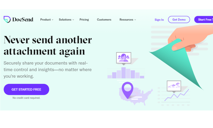 DocSend main page for Best Document Management Software