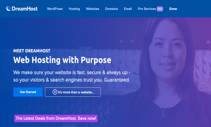 DreamHost main page for Best Free Web Hosting