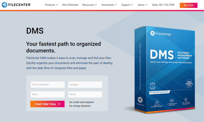 FileCenter DMS product page for Best Document Management Software